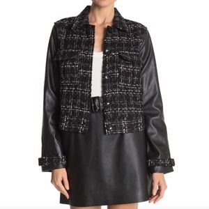 Laundry By Shelli Segal Faux Leather Sleeve Jacket